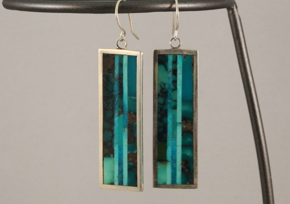 Handmade Contemporary Sterling Silver and Turquoise Earrings