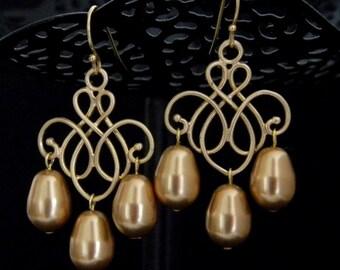 Gold Swarovski Pearl Chandelier Earrings