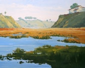 Back Bay Bluffs - 18 x 24 Inch Oil Painting on Canvas of the Back Bay Wetlands - Living Room Art - Living Room Decor - Water Painting