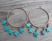 Turquoise Stars Copper Hoop Earrings