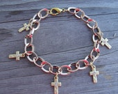 Gold Crystal Cross Rose Gold Charm Bracelet