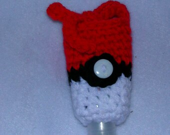 Crochet Hand Sanitizer Cozy, Pokeball