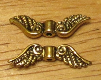 Angel Wings - 100 pcs. - Lead Free - Antique Gold - Fancy - Gold Wings - Tibetan Style - Angel Wing Beads - Wings