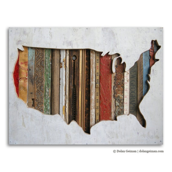 American Souvenir Mixed Media US Map Silhouette