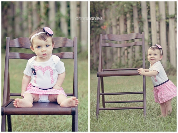 Boutique ..Initial..ONESIE DRESS.. your childs initial... matching HEADBAND