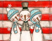 Print of my Original Young at Heart Painting - Snowman  Friends