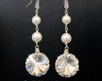 Wedding Chandelier Earrings,  Bridal Jewelry, Wedding  Swarovski Crystal Cubic Zirconia Large Drop Earrings - E115