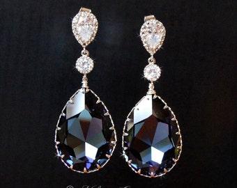 Blue Wedding Earrings, Bridal Earrings, Swarovski Crystal Cubic Zirconia Drop Earrings, Wedding Jewelry  - Montana Beauties