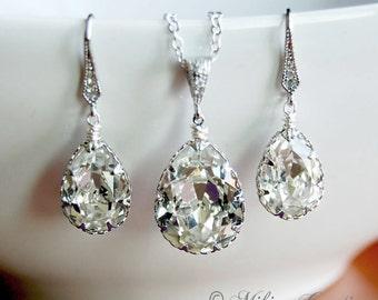 Wedding Jewelry, Wedding Accessories, Chandelier Swarovski Crystal Earrings/Necklace Set - Karina