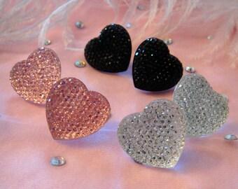 Crystal Heart Stud Earrings- Pink, Silver or Black