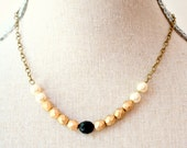 Gold Black And Pearl Strand Bead Necklace