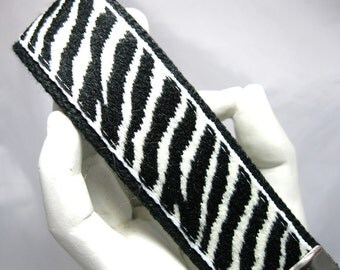 Key Fob Wristlet Black and White Zebra Stripe