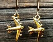 Airplane Earrings, Brass - Lise