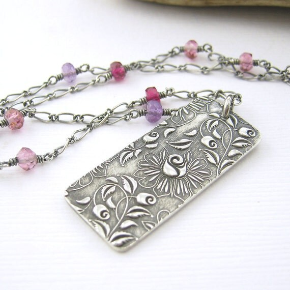 Wire Wrapped Gemstone Necklace Sterling Silver Amethyst Pink Topaz Pink Quartz Fashion Jewelry - Held Within No. 8