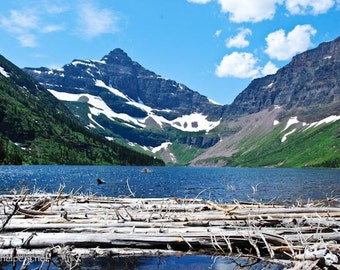 Upper Two Medicine Lake, Summer Lake, Montana Landscape, Glacier National Park, Montana Art Photograph or Greeting Card
