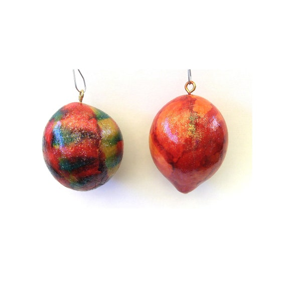 Two Christmas Ornaments Painted Gourds Popsicle Missile & Fire Red holiday decoration colorful home decor
