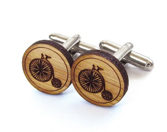 Pennyfarthing Cufflinks. Vintage Bicycle. Wood Cufflinks. Groomsmen Gift. Groom Gift. Gift For Men. Mens Gift. Gifts For Dad. Gifts Under 25