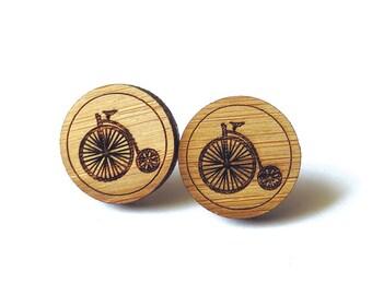 Penny farthing Earrings. Bike Earrings. Wood Earrings. Stud Earrings. Laser Cut Earrings. Bamboo Earrings. Gifts For Her. Gift For Women.