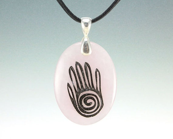 Healing Hand - Engraved Stone Pendant - Rose Quartz