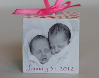 Baby's First Christmas Wooden Block Ornament Sweet Treats