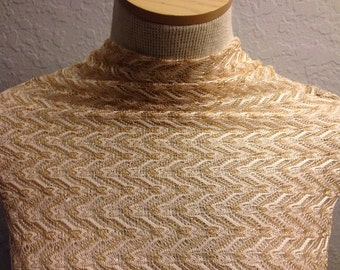 Crochet Design Lace Fabric with gold Metallic 1 Yard