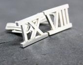 ROMAN NUMERAL Cuff Links,Cufflinks,Cuffs, for men, Number, sterling, silver, 93.0, Argentium, Tarnish resistant