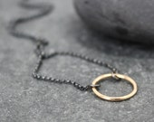 BLACK & GOLD, Circle, 14K gold, solid gold, yellow, necklace