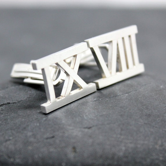 ROMAN NUMERAL Cuff Links,Cufflinks,Cuffs, for men, Number, sterling, silver, 93.0, Argentium, Tarnish resistant