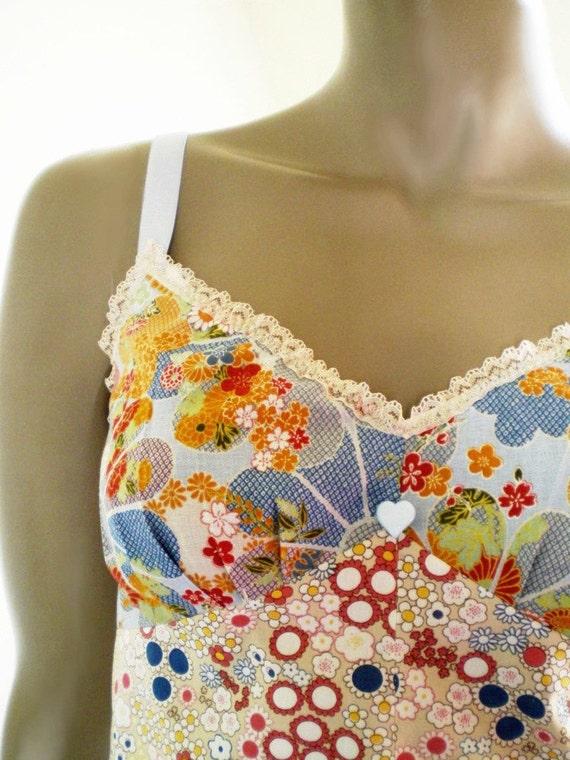 Japanese Flower Camisole Handmade Blue And Tan Elegant Cotton Lingerie Or Sleep Top
