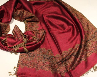 BIG SALE /Pashmina  Scarf /Pomegranate  Red /High Fashion