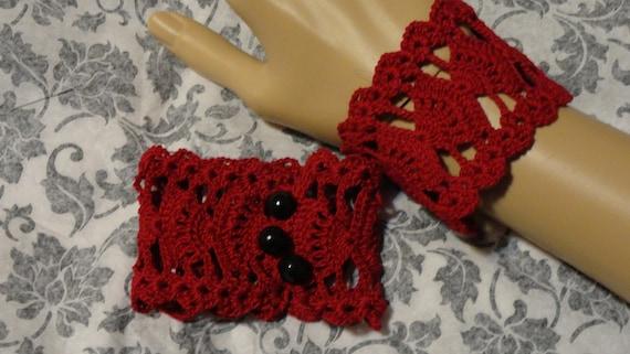 Scarlet Red  Victorian Noir Mourning Vampire Steampunk Crochet Lace Wrist Cuff Set