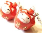 10% Off Sale Red Neko Cat Porcelain Kawaii Earrings Beaded Jewellery Kawaii Earrings