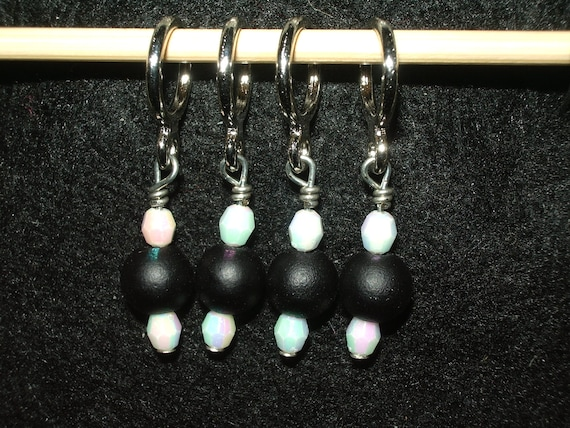 SUPER SALE - Black and white beaded stitch markers - set of 4