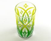 Windsor Diamonds Wide Highball Tumbler Glass - Etched and Painted Glassware - Custom Made to Order Barware