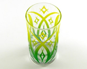Windsor Diamonds - Wide Highball Tumbler Glass - Inlaid Style - Etched and Painted Glassware - Custom Made to Order