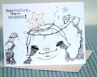 happy birthday sloth greeting card, Birthday card