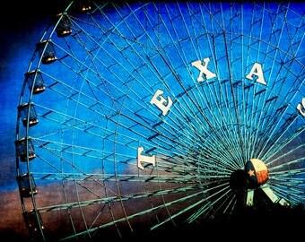 Texas Photography, Texas State Fair, Dallas Photos, Fair Park Print, Ferris Wheel, Blue Texas Decor, Gift Ideas for Texans, Travel, Wall Art