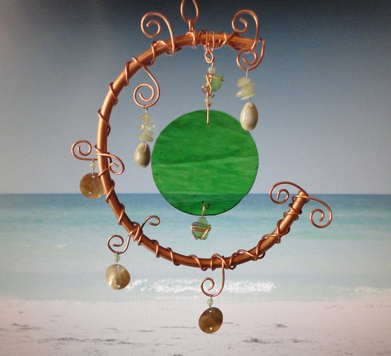 SALE, Rising Tides, Garden Sculpture, Earth and Moon, Stained Glass and Copper Mobile, Wall Hanging