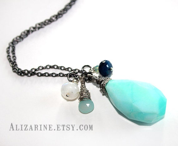Sea Stories - Guitar string pendant necklace with opal chalcedony moonstone