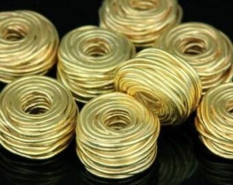 KG-212 thai karen hill tribe silver 3 gold vermeil wire wrap bead
