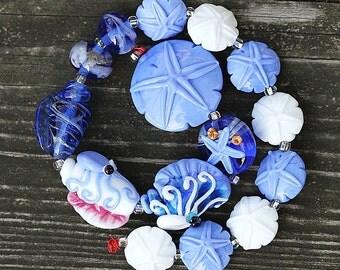 Made to Order Margo handmade lampwork beads seashell set  (15)