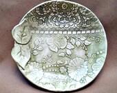 Sage green Lace Damask Bowl
