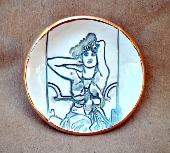 Art Nouveau Ceramic lil Ring Bowl
