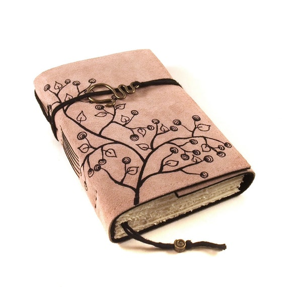 Handmade leather journal,  Suede, Blossoms