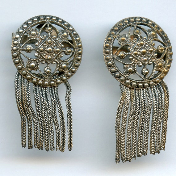 Art Deco Shoe  Clips or Buckles with FRINGE Metal Vintage From FRANCE French 8138 qz