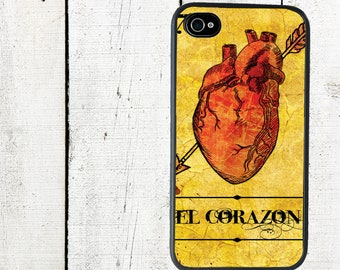 El Corazon Mexican Loteria Phone Case for  iPhone 4 4s 5 5s 5c SE 6 6s 7  6 6s 7 Plus Galaxy s4 s5 s6 s7 Edge