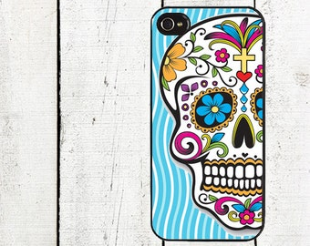 iphone 6 case Day of the Dead iPhone Case - Sugar Skull iPhone Case - iPhone 4, 4s - iPhone 5 Case - Blue Swirls - Galaxy s3 s4 s5