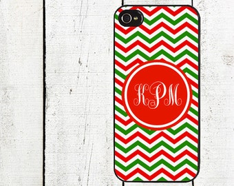 Personalized Christmas Chevron iPhone Case - Monogram Cell Phone Case - iPhone 4,4s -iPhone 5 Case - Gifts Under 25