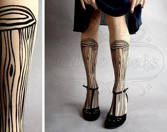 Wooden Legs TATTOO gorgeous thigh-high stockings Light Mocha