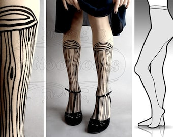 S/M sexy Wooden Legs tattoo tights / stockings/ full length / pantyhose / nylons ULTRA Pale